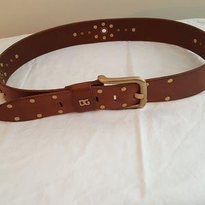 Dolce & Gabana Brown Studded Leather Belt
